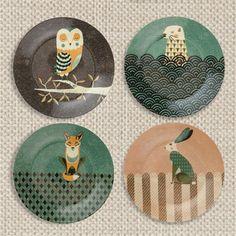 Set of 4 'British Wildlife' Side Plates