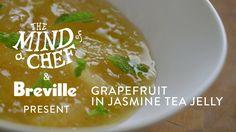 Grapefruit in Jasmine Tea Jelly Recipe from David Kinch Mind of a Chef P... Citrus Recipes, Jelly Recipes, Vegan Recipes, Jasmine Tea, David, Savoury Dishes, Jello, Grapefruit, Food To Make