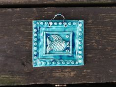 Bubbles the Fish Ceramic Tile in Outrageous Teal by twigcrafts, $15.00