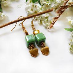 Green cube earrings. Green dangle earrings. Gold heart