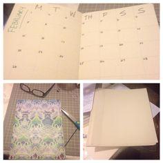 Made a calendar, used old planner cover, card stock, Martha Stewart gel adhesive, scoreboard