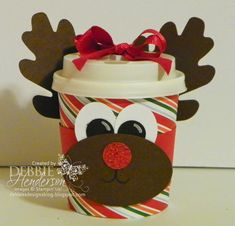 Mr Minicup Reindeer ll 3 used the same punches and dies: Wide Oval Punch, Circle Punch, Small Oval Punch and the Autumn Accents Die. These would be very easy to mass produce if you needed a bunch for Christmas! Christmas Paper Crafts, Christmas Projects, Holiday Crafts, Christmas Crafts, Christmas Ideas, Christmas Flyer, Christmas Favors, Xmas, Punch Art