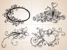 Doodle Drawings | These cool hand drawn decorative ornaments use stars, hearts, flowers ...