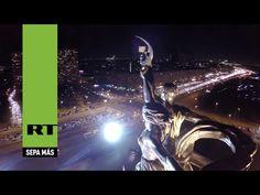 Moscú: Un dron capta la majestuosidad de la estatua del Obrero y la Kolj...