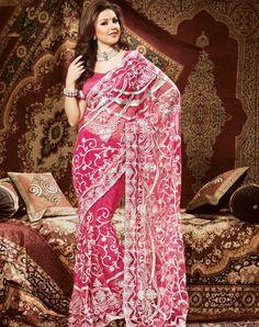 Pink Net Work Saree