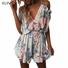 9a72af80dee ELSVIOS 2018 Women Print Lace Rompers Casual Jumpsuits Summer Short Pleated  Overalls Chest Wrap Strapless Beach