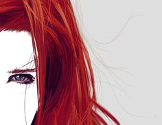 Hair detail red head  easy paint tool sai Wacom tablet