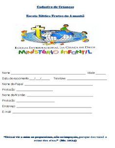 Tias da Escolinha - Ministério Infantil: Ficha de Cadastro