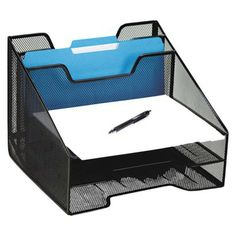 Rolodex Mesh Combination Sorter with Five Sections - Black