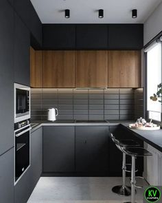 Selection for a modern and refined kitchen - HomeDBS Kitchen Room Design, Luxury Kitchen Design, Kitchen Cabinet Design, Home Decor Kitchen, Kitchen Layout, Interior Design Kitchen, Home Kitchens, Modern Kitchen Interiors, Modern Kitchen Cabinets
