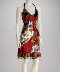 Take a look at this Red Asian-Infused Halter Dress by Desigual on #zulily today!