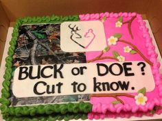 Gender reveal cake for hunters & regular country-camo folk... I personally do not get into this but I thought this was cute & clever for all of you that do!!!