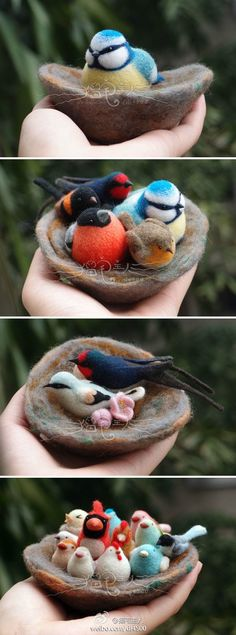 Beautiful needle felting - one Pinner said.I made this with fimo and put it in my garden- few months later the birds were on the ground and birds had made their home in it! Wet Felting Projects, Needle Felting Tutorials, Needle Felted Animals, Felt Animals, Felt Birds, Nuno Felting, Felt Diy, Felt Hearts, Felt Ornaments