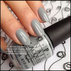 OPI Cement the Deal - Fifty Shades of Grey Collection January Opi Gel Polish, Grey Nail Polish, Gray Nails, Silver Nails, Opi Nails, Opi Nail Colors, Pretty Nail Colors, Pretty Nails, Nail Paint Shades