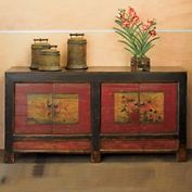 """Vintage Mongolian Double Chest  Imported      Approx 69""""W x 20""""D x 35""""H  $1800"""