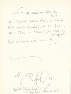 "Robert Plant of Led Zeppelin handwritten signed lyrics for ""Stairway to Heaven""."
