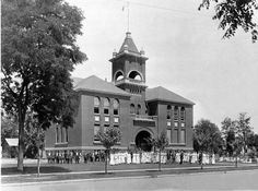 First Merced High School on M Street in the Courthouse Park, circa 1920 (Photo Courtesy of Merced County Historical Society)