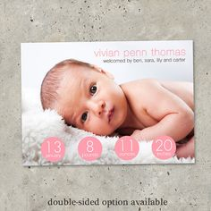 baby girl birth announcement  Stats by minkcards on Etsy, $64.00