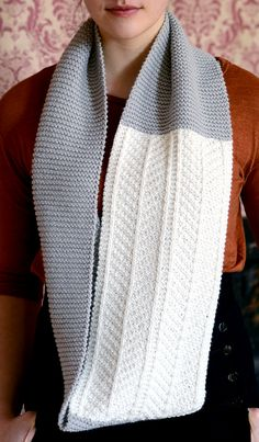 Knitting Pattern for Dagny Cowl - This infinity scarf cowl features a mix of garter stitch with a chic herringbone pattern for a classy design. By Cecily Glowik MacDonald