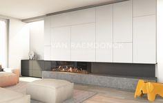3 zijdige gashaard met houtstammen van +/- 170 cm breed + sokkel in natuursteen + kastaanbouw op maat in MDF, geschilderd.