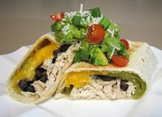 Shredded Chicken, Green Chili, Black Bean, and Cheddar Cheese Baked Chimichangas