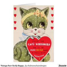 Vintage Purr-fectly Happy Valentine's Day Card