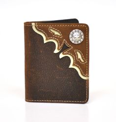 Ariat Western Mens Wallet Leather Tooled Overlay Bifold Brown A3510402