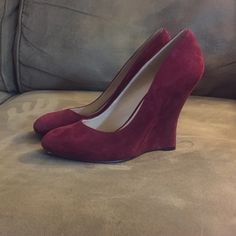 **HP** Nine West Suede Wedges Just in time for the holidays get these beautiful cranberry wedges in the 'it' color of the season. Never worn!  NWOB. Nine West Shoes Wedges