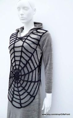 This is CROCHET PATTERN ONLY to make Spiderweb Tunic! To buy ready-made Tunic, please, visit my other Etsy shop: https://www.etsy.com/listing/223739968/pdf-pattern-crochet-spider-web-halloween?ref=shop_home_feat_3 This reversible crochet tunic can be a part of your Halloween costume. Size: Small/US 6/EU 38 Finished measurements: Total length: 25/63,5 cm Diameter of the round part: 19/ 48 cm Easy crochet pattern contains step by step writt...