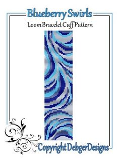 Blueberry Swirls - Loom Bracelet Cuff Pattern | DebgerDesigns - Patterns on ArtFire