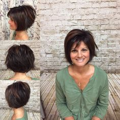 Bronze high light on dark brown hair done by Heather J. Short razored texted Bob...