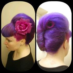 Vintage hair always works with bright, vivid crazy coloured hair for a real Rockabilly effect.
