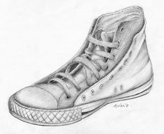 High top sneaker pencil drawing - Google Search
