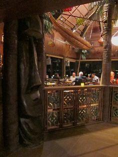 Humu Kon Tiki - The dining room at Trader Vic's Emeryville Tiki Lounge, Tiki Tiki, Tiki Bars, Tiki Room, South Pacific, Bar Ideas, Surf Shop, Home Improvement Projects, Vintage Furniture