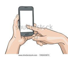 Vector illustration of hand holding smartphone and finger pressing blank screen, Illustration in sketch style isolated on white background