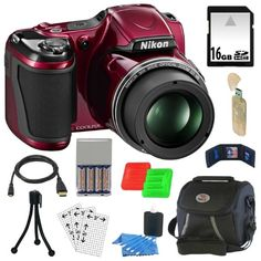 Nikon COOLPIX L820 16 MP Digital Camera with 30x Zoom (Red) + 4 AA Batteries with AC/DC Rapid Charger + 10pc Bundle 16GB Deluxe Accessory Kit Focus Camera,http://www.amazon.com/dp/B00BPZZYTG/ref=cm_sw_r_pi_dp_CYaOsb1BPNE7AF7X