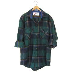 Flannel Shirt 90s Green Plaid Grunge Lumberjack Soft Black Oversize... ($28) ❤ liked on Polyvore featuring men's fashion, men's clothing, men's shirts, men's casual shirts, mens plaid shirts, mens button up shirts, mens purple flannel shirt, mens long sleeve button down shirts and mens long sleeve shirts