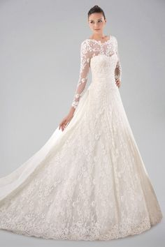 pretty-long-sleeve-wedding-gown-with-lace-overlay-and-watteau-train