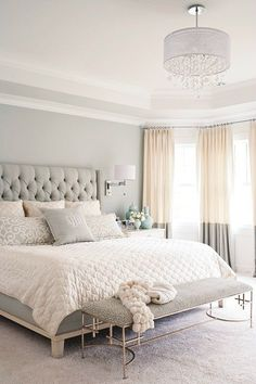 Gray, white, and tan bedroom color scheme