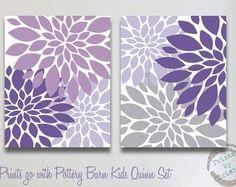 Nursery Art Matches Pottery Barn Kids Quinn Set Flower Print 2 Piece 8x10 11x14 Baby Room Decor Purple Lavender Gray