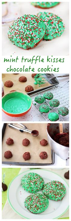 Soft and chocolate-y muffin top cookies with chopped mint Hershey's kisses and dipped in mint chocolate ganache for a Christmas-y look.