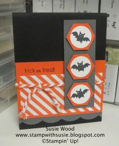 Stampin' Up!- A cute Halloween card using 'Freaky Friends' & 'Ghoulish Greetings'!!