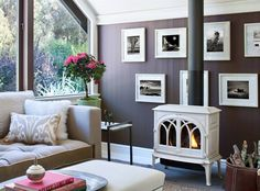 Wood Burning Stove Design Ideas, Pictures, Remodel, and Decor – page 26 – Freestanding fireplace wood burning Living Room Designs, Living Spaces, Living Rooms, Wood Burning Logs, Freestanding Fireplace, Wood Burner, Living Room With Fireplace, Lund, Decoration