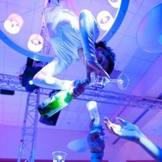 Aerial bartenders, provided by J&D Entertainment, add unexpected fun to your event or party! Wedding Entertainment, Indian Wedding, www.jdentertain.com