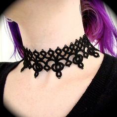 Tatted Lace Choker Necklace  Diadem by TotusMel on Etsy, $48.00
