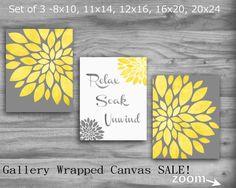 Relax Soak Unwind Bathroom Decor CANVAS SALE Set OF 3 Gray Yellow Wall Art Flowers 8X10 20X24 Large Wall Art Modern Vintage