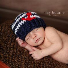 f328439d127 Crochet baby boy girl nautical hat beanie dark blue navy white stripes red  felt anchor marine