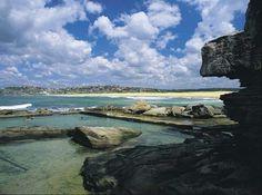 View of North Curl Curl beach and ocean bath, Northern Beaches.