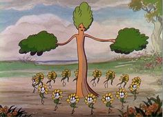 'Flowers and Trees' first of the Walt Disney 'Silly Symphony' cartoons to be made in Technicolor .gif <<<Aka Flowey's worshipping a tree
