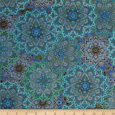 Timeless Treasures Enchanted Plume Metallic Medallions Turquoise from @fabricdotcom  Designed by Chong-A-Hwang for Timeless Treasures, this cotton print fabric is perfect for quilting, apparel and home decor accents. Colors include black, shades of green & blue with accents of metallic gold.